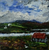 """'Isle of Harris (Red roof 1)'. Mixed media on 5x5"""" wood"""