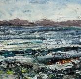 "'Isle of Harris (shoreline)'. Mixed media on 5x5"" wood"