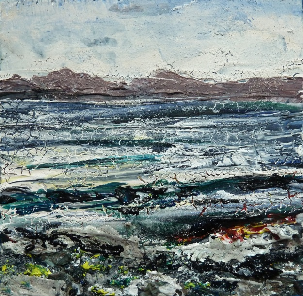 "'Isle of Harris (shoreline)'. Mixed media on 5x5"" wood"