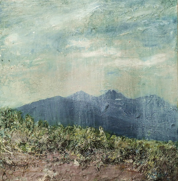 """'View from Achnahaird Sand Dune'. Mixed media on 8x8"""" wood. Rose Strang 2016"""