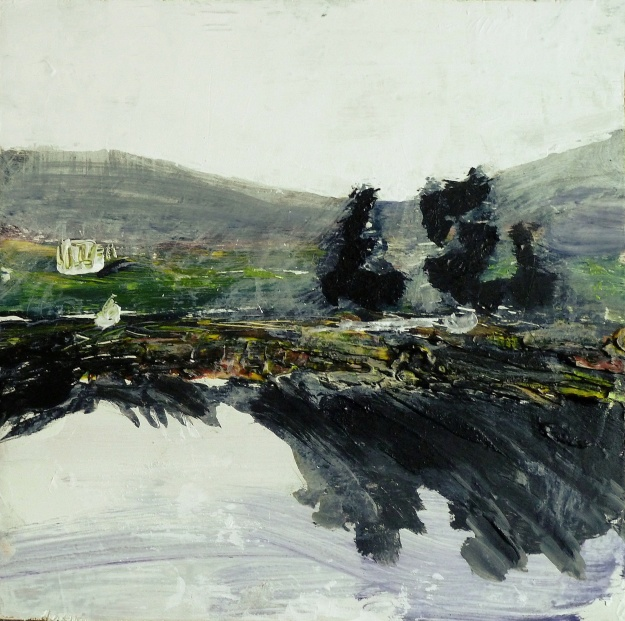 "Sold . 'Harris (Sea Loch 2)' Mixed media on 10x10"" wood. Rose Strang 2016"