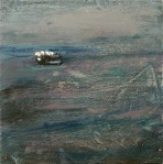 """'Ullapool to Stornaway 3'. Mixed media on 5x5"""" wood"""