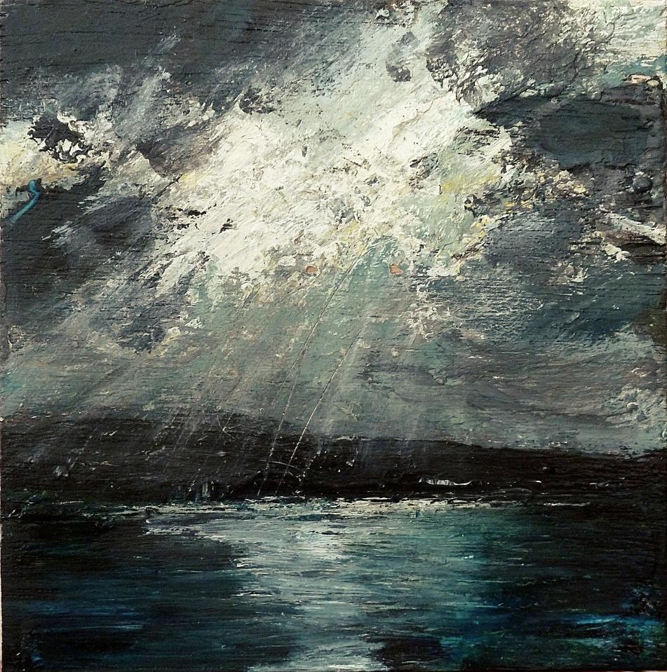 "Sold. 'Leaving Ullapool 2'. Mixed media on 5x5"" wood. Rose Strang 2016"