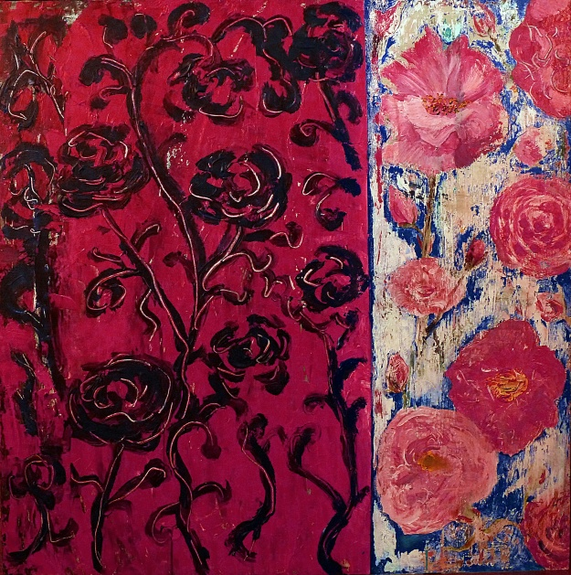 "Rosa Damascena. Acrylic on 36x36"" wood panel"