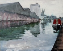 "Sold. £400 'Canalscapes 5'. Acrylic on 14x12"" wood panel"