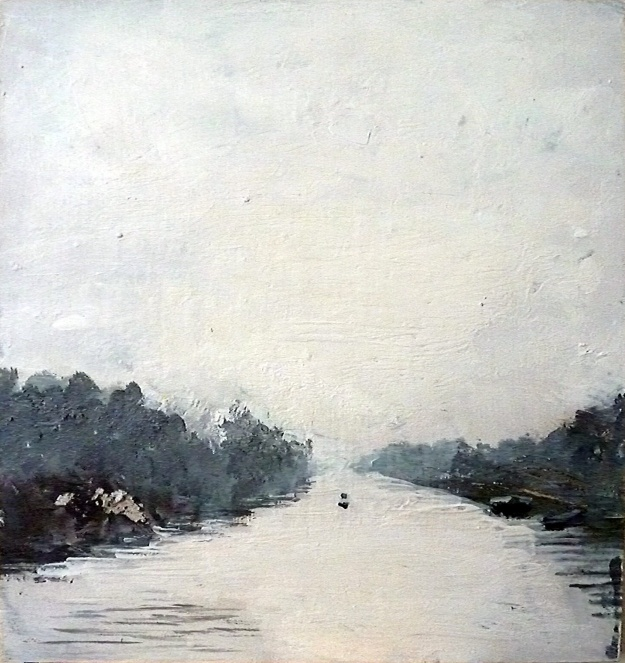 """'Canalscapes 6'. Mixed media on 11x12"""" wood panel"""