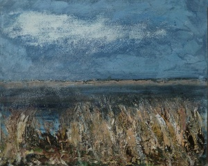 "Sold. 'Severn 3'. Mixed media on 14x11"" wood panel. Rose Strang 2017"