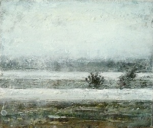 "Sold. 'Severn 2'. Mixed media on 14x11"" wood panel Rose Strang 2017"