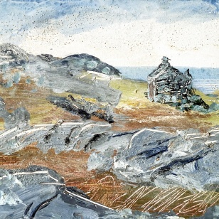 Sold. Croft at Geocrab Bay, Harris. Mixed media on 6.5×5″ wood block .£85. Rose Strang 2017