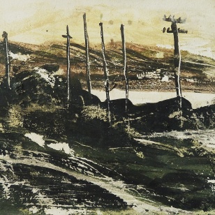"""Sold. East coast road, Harris 1. Ink and acrylic on 7.7x5""""″ wood block £92. Rose Strang 2017"""