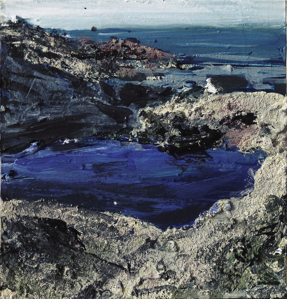 Sold. Geocrab Lochan, Harris. Mixed media on 5×5″ wood block. £70. Rose Strang 2017