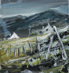 Sold. Houses at Scarasta, Harris. Mixed media on 5×5″ wood block. £75. Rose Strang 2017