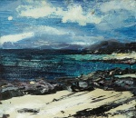 "Sold. Traigh Luskentir. Mixed media on 4.6x4.2"" wood block. £65. Rose Strang 2017"