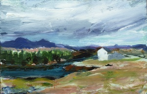 Sold. Loch Fhleoideabhaigh at Mannish, Harris. Mixed media on 6.5×5″ wood block £85. Rose Strang 2017