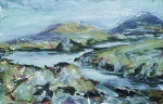 Loch near Beacravik, Harris. Mixed media on 6.5×5″ wood block £85. Rose Strang 2017