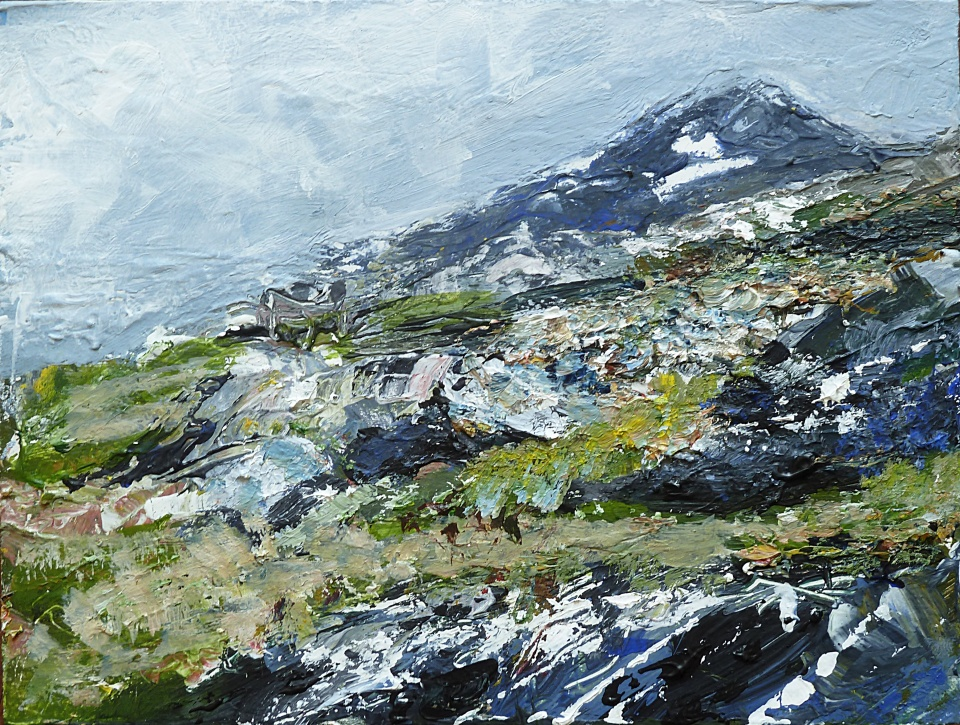 Hills near Beacravik, Harris. Mixed media on 6.5×5 wood block. £85. Rose Strang 2017
