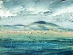 Sold. Traigh an Taoibh Thuath, Isle of Harris. Mixed media on 6.5×5 wood block £85. Rose Strang 2017