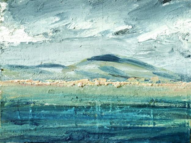 Sold. Traigh an Taoibh Thuath, Isle of Harris. Mixed media on 6.5×5 wood block £85. Rose Strang 2017