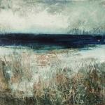 "'Tràigh na Buirgh, Harris'. Mixed media on 9.5x9.5"" wood panel. Rose Strang 2017"