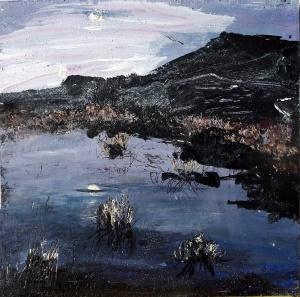 "Sold. 'Harris Moon 2'. Mixed media on 9.5x9.5"" wood panel. Rose Strang 2017"