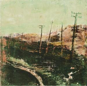 "Sold. 'East Coast Road, Harris 2'. Mixed meda on 9.5x9.5"" wood panel.. Rose Strang 2017"