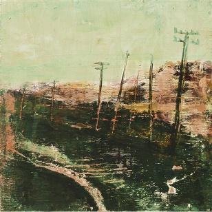 "Sold. 'East Coast Road, Harris 2'. Mixed meda on 9.5x9.5"" wood panel. £170. Rose Strang 2017"