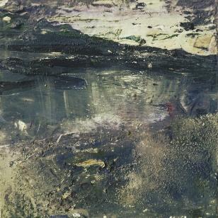 Sold. Harris Twilight. Mixed media on 5×5″ wood block £70. Rose Strang 2017