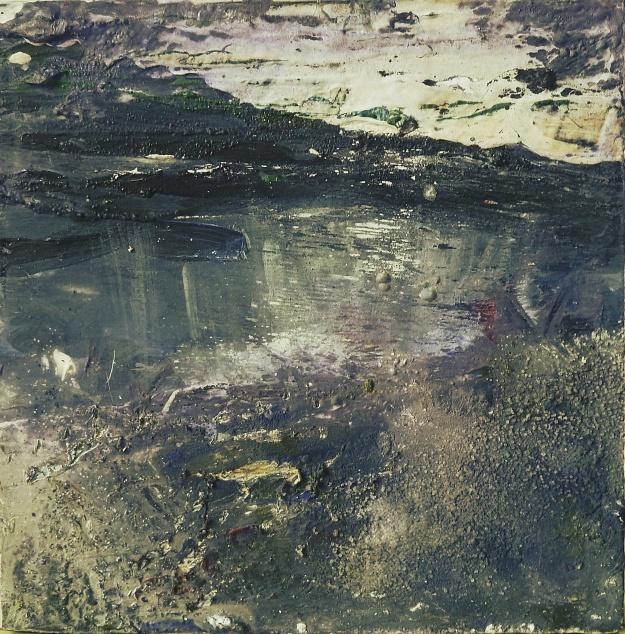 Sold. Harris Twilight. Mixed media on 5×5″ wood block. Rose Strang 2017