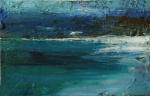 Luskentir Sea, Harris 1. Mixed media on 6.5×5″ wood block. Rose Strang 2017