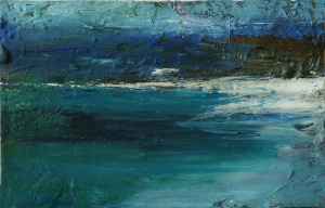 Luskentir Sea, Harris 1. Mixed media on 6.5×5″ wood block £85. Rose Strang 2017