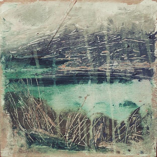 "'Luskintir Sea, Harris'. Mixed meda on 9.5x9.5"" wood panel.. Rose Strang 2017"