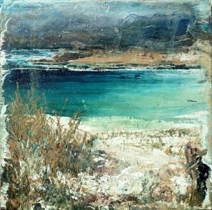 "Sold. 'Traigh Luskentir, Harris 2'. Mixed meda on 9.5x9.5"" wood panel. £170. Rose Strang 2017"