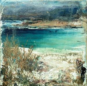 "Sold. 'Traigh Luskentir, Harris 2'. Mixed meda on 9.5x9.5"" wood panel. £170. Rose Strang 2017"