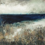 "Sold. 'Tràigh na Buirgh, Harris'. Mixed media on 9.5x9.5"" wood panel £170. Rose Strang 2017"