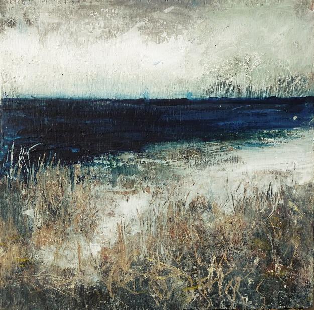 "Sold. 'Tràigh na Buirgh, Harris'. Mixed media on 9.5x9.5"" wood panel. Rose Strang 2017"