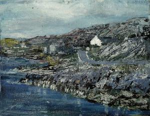 Sold. East Coast Road near Geocrab Bay, Harris. Mixed media on 9.5×7.5 wood panel. £120. Rose Strang 2017
