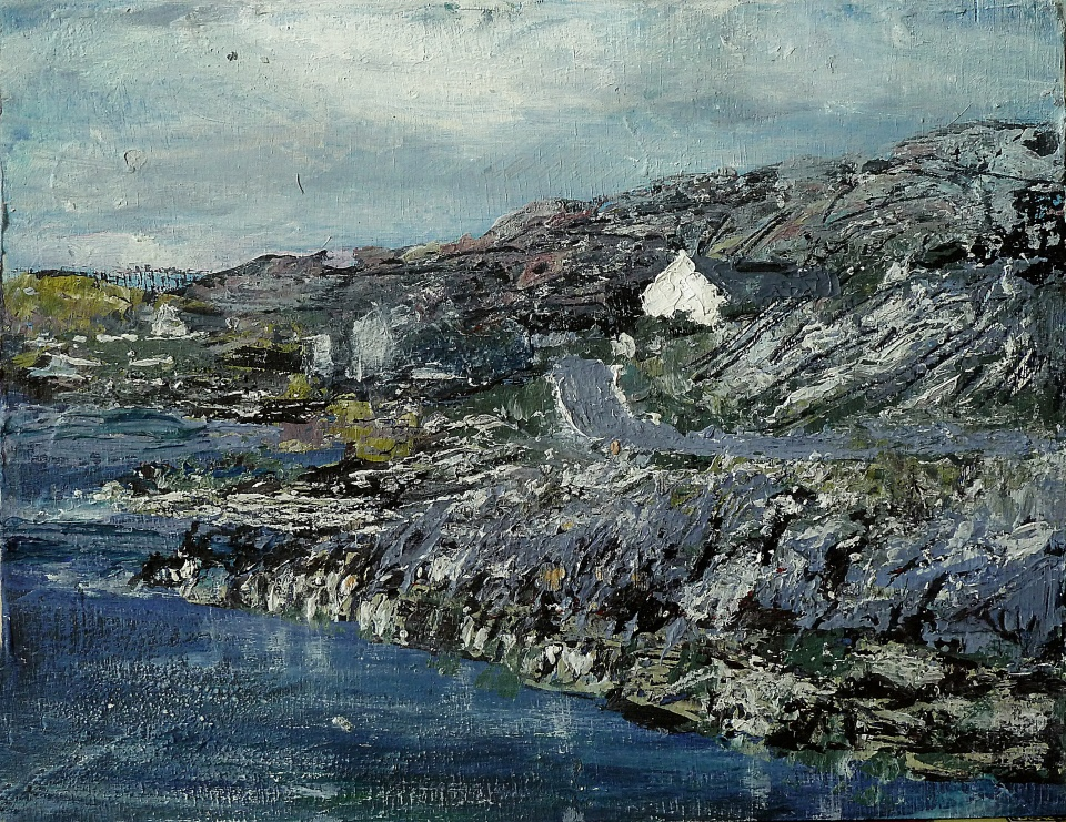 Sold. East Coast Road near Geocrab Bay, Harris. Mixed media on 9.5×7.5 wood panel. £120. Rose Strang 2017