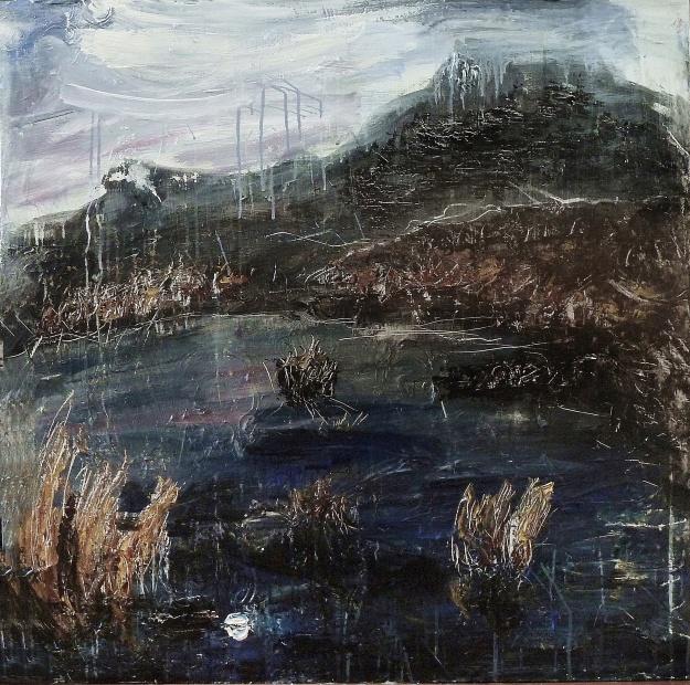 "'Harris Moon 4'. Mixed media on 36x36"" wood panel.. Rose Strang 2017"