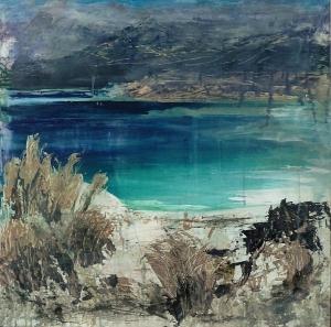 "Sold 'Traigh Luskentir, Harris. 4'. Mixed media on 30x30"" wood panel. £600. Rose Strang 2017"