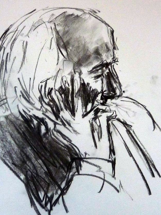 Preparatory sketches of Richard Demarco 3. Charcoal on paper.Rose Strang 2018