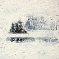 "Sold. 'Winter 5 - Ice Lake'. Mixed media on 10x10"" wood panel. £150 (unframed) Rose Strang 2017"