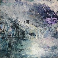 """Sold. 'Winter 10. Sacred Well'. Mixed media on 10x10"""" wood panel. £150 (unframed) Rose Strang 2017"""