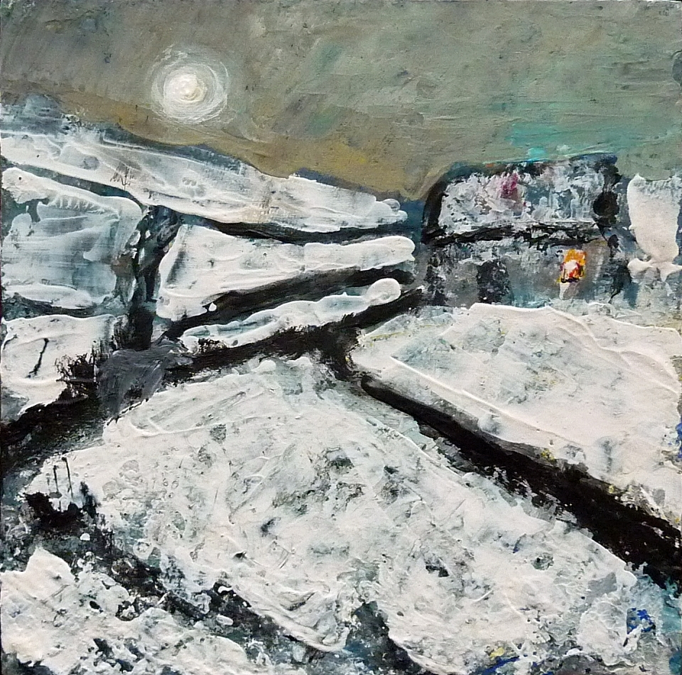 "'Winter 12. Home, Moonlight'. Mixed media on 10x10"" wood panel. £150 (unframed) Rose Strang 2017"
