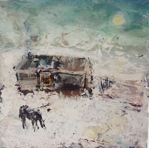 """Sold. 'Winter 1 . Home, Horse'. Mixed media on 10x10"""" wood panel. Rose Strang 2017"""