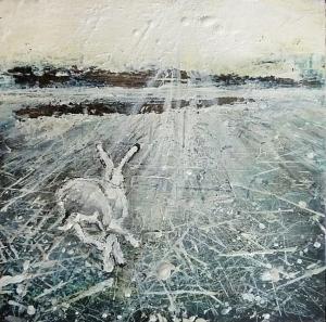 "Sold. 'Winter 9. Skating, Running'. Mixed media on 10x10"" wood panel. Rose Strang 2017"