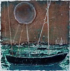 "Sold. 'Winter 2 . Antarctic Moon'. Mixed media on 10x10"" wood panel. Rose Strang 2017"