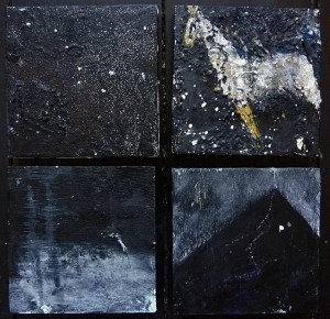 """Sold. 'Winter 6 .Sombre Constellations'. Mixed media on four 5x5"""" wood panels. Rose Strang 2017"""