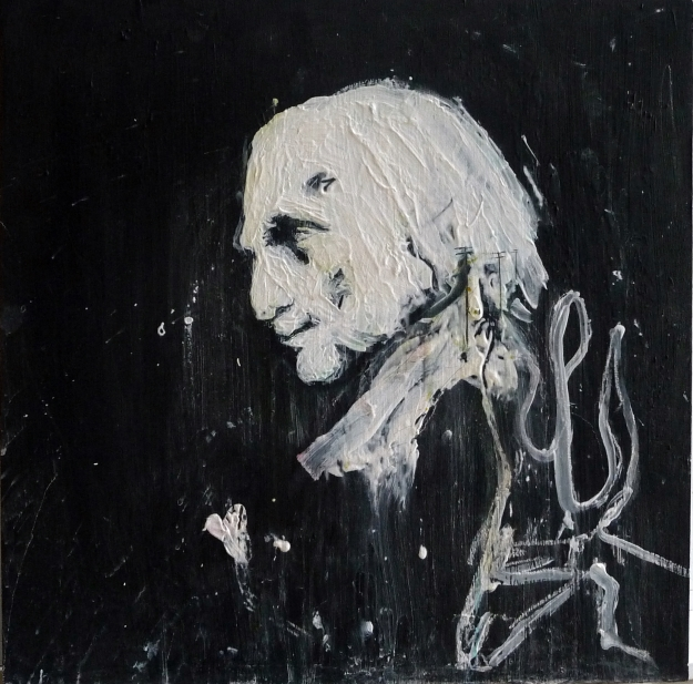 """Portrait of Richard Demarco. Blackboard paint, gesso and pencil on 30x30"""" wood panel. Rose Strang 2018"""