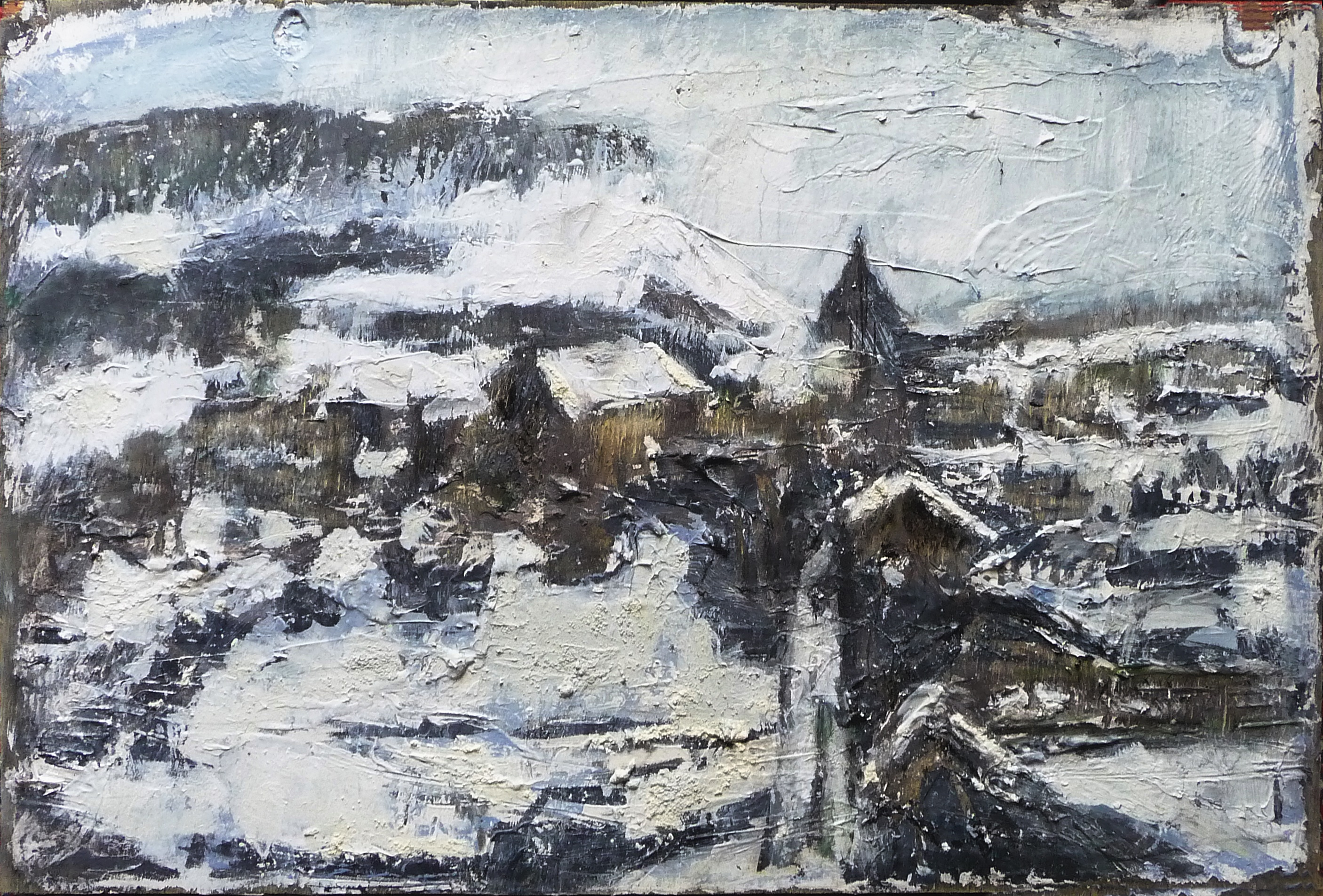 Sold. 'Edinburgh Snow (Arthur's Seat and Royal Mile from Regent Road)'. Mixed media on 24×16″ found wood panel. Rose Strang 2018