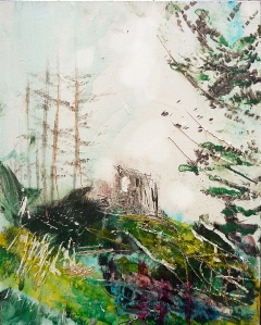 Sold. 'Wells of Arthur's Seat, St Anthony's Chapel from St Margaret's Loch'. Mixed media on 10x8 inch wood panel. Rose Strang 2018